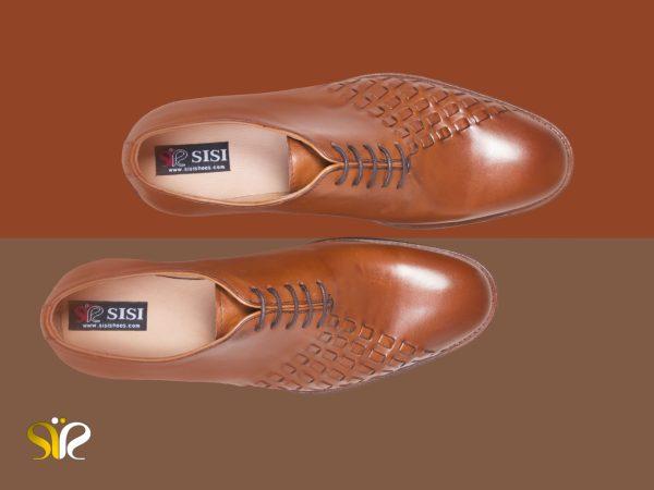 کفش مردانه چرم تبریز رنگ عسلی مدل دیبالا
