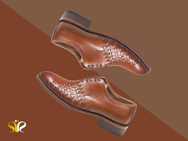 کفش چرم عسلی مدل دیبالا دستدوز