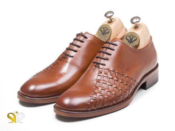 کفش چرم مردانه مدل دیبالا رنگ عسلی