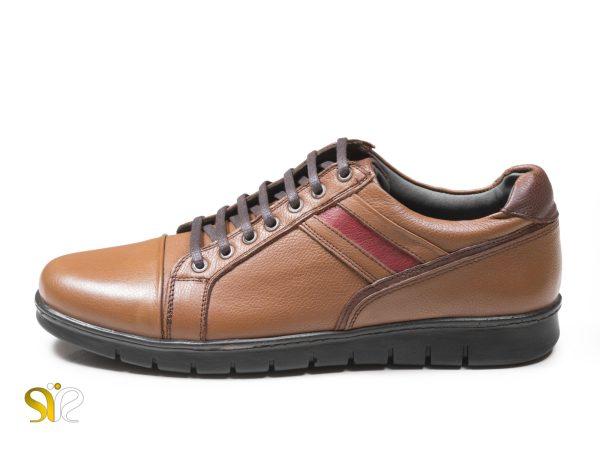 کفش اسنیکرز مردانه چرمی مدل گلزار رنگ عسلی