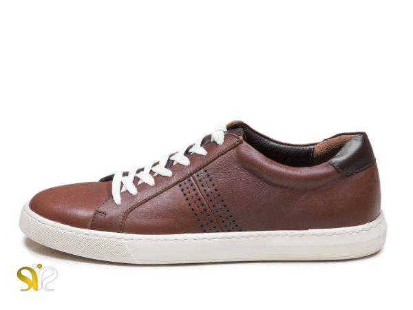 کفش اسنیکر چرم مردانه مدل دیرک رنگ قهوه ای