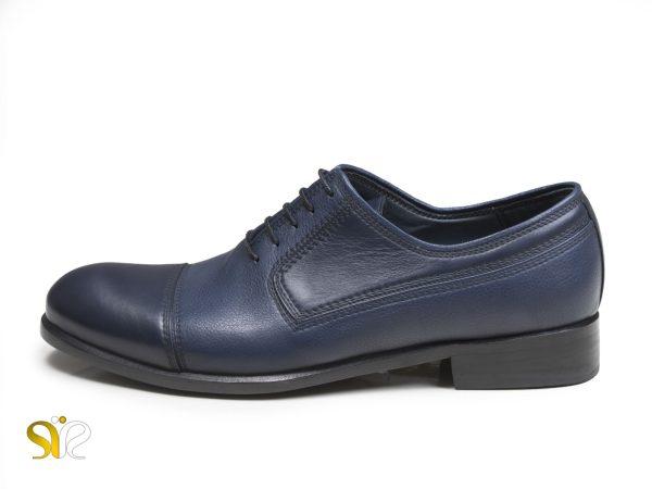 کفش چرم دستدوز سی سی مدل ژاکارد سرمه ای