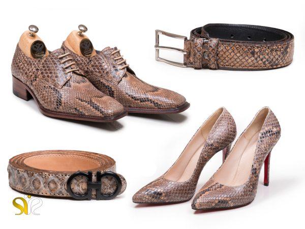 ست کفش زنانه و کمربند چرم پوست ماری مدل راگا