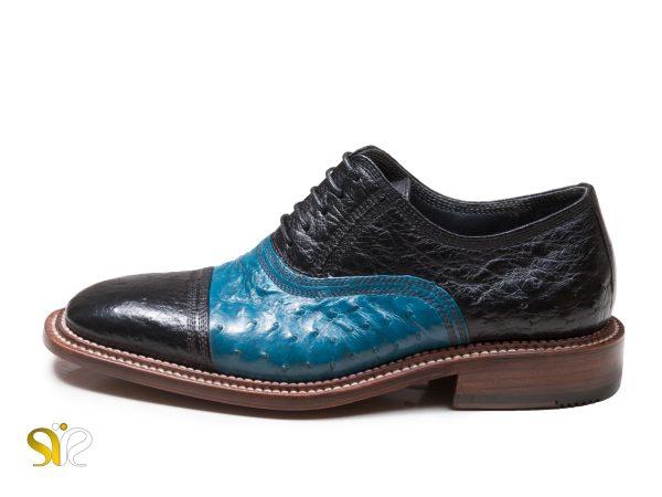 کفش مردانه مشکی آبی مدل شایان وی آی پی