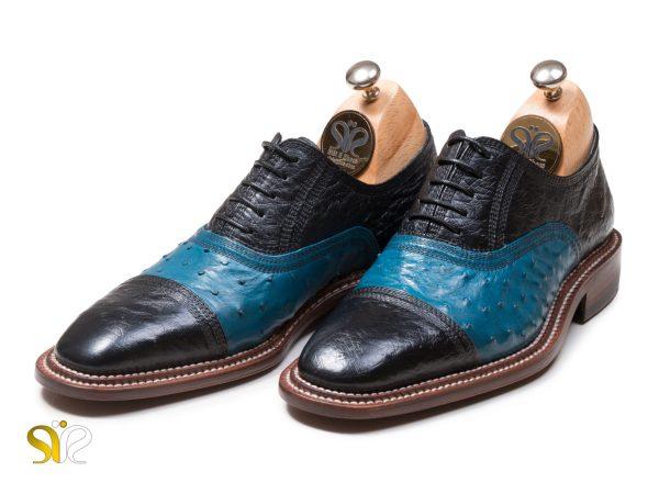 کفش مشکی آبی مردانه مدل شایان