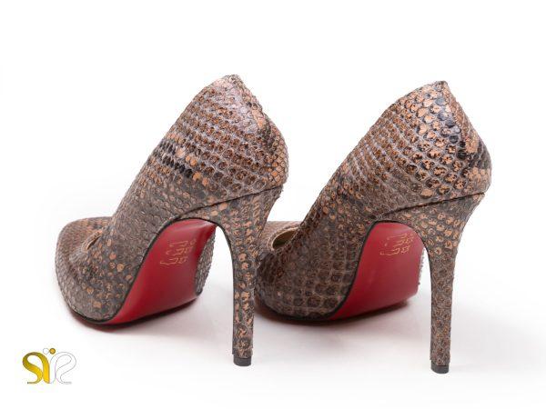 کفش پاشنه بلند پوست ماری چرم مدل راگا