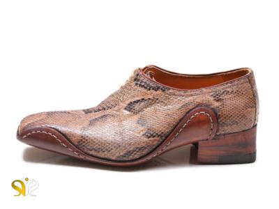 کفش پوست ماری مردانه چپ بند مدل سیستان