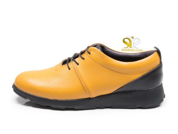 کفش چرم اسپرت دخترانه رنگ زرد مدل پانیذ