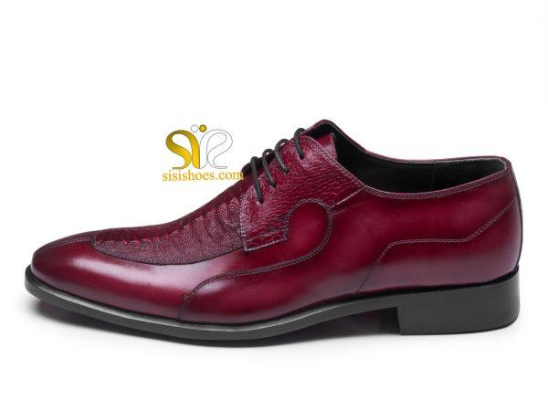 کفش مجلسی چرم مردانه مدل رابین رنگ زرشکی